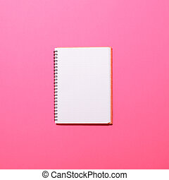 -, sida, bakgrund, tom, rosa, lägga, anteckningsbok, lägenhet