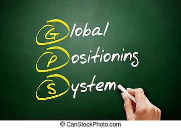 -, siglas, posicionar, sistema, global, gps