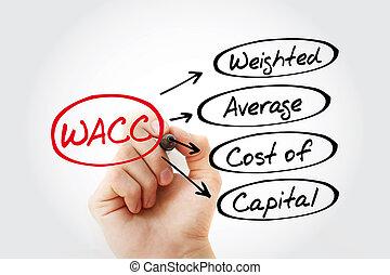 -, siglas, wacc, cargado, capital, coste, promedio