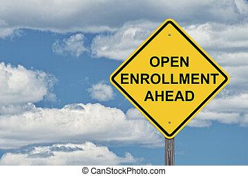 -, signe, ciel, ouvert, devant, prudence, enrollment, bleu