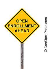 -, signe, ouvert, devant, prudence, enrollment