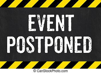 -, signe, raies, prudence, postponed, événement