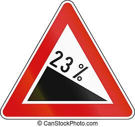 -, signe, slovénie, colline, descendant, escarpé, route