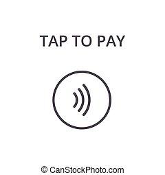 -, signo., golpecito, paga, vector, contactless, concepto,...