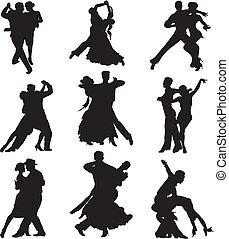 -, silhouette, danse salle bal