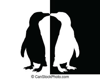 -, silhouette, manchots
