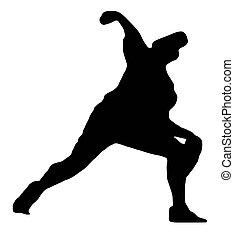 -, silhouette, sport, cruche, base-ball