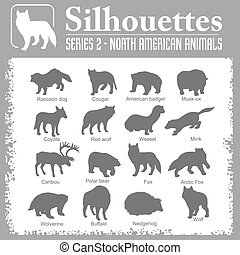 -, silhouettes, américain nord, animals.