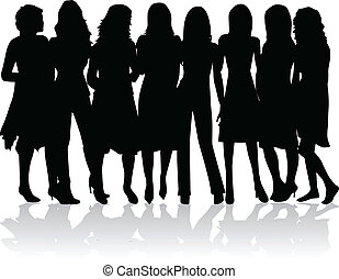 -, silhouettes, vrouwen, groep, black