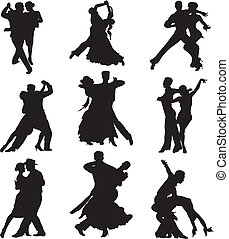 -, silhuet, ballroom danse