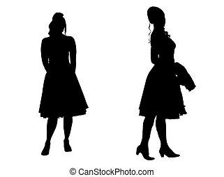 -, silhuett, unga kvinnor
