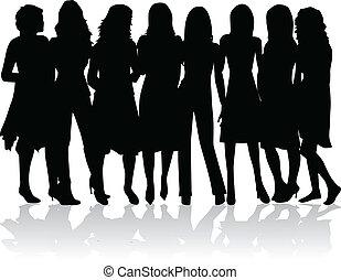 -, silhuetter, kvinder, gruppe, sort