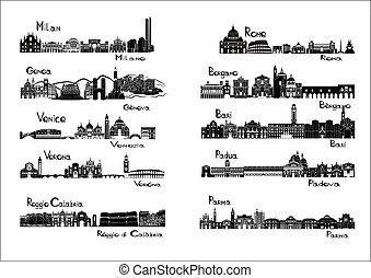 -, silueta, 10, ciudades, italia, si