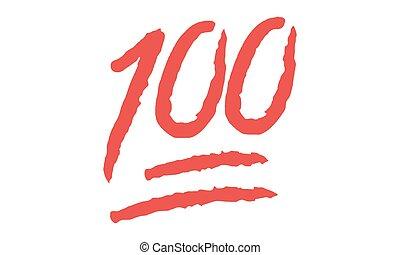 -, simbolo, vettore, punkte, vektor, hundert, cento, punti, 100, emoji