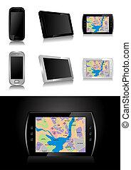 -, sistema global que posiciona, dispositivo, gps