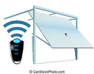 -, sistema, puerta, radio, automático, abierto, garaje, remoto