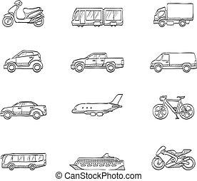 -, skicc, szállítás, ikonok
