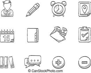-, skiss, grupp, samarbete, ikonen