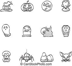 -, skiss, halloween, ikonen