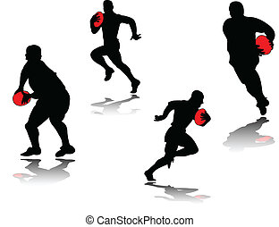 -, skugga, vektor, rugby spelare