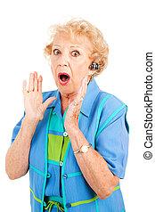 -, skvaller, mobiltelefon, senior woman