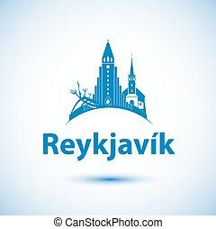 -, skyline, vetorial, reykjavik, ilustração