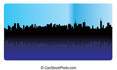 -, skyline, vetorial, silueta