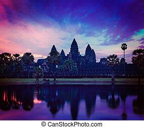 -, slavný, angkor, kambodžan, mezník, wat, východ slunce