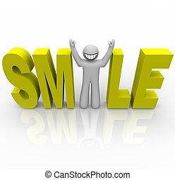 -, smiley, woord, man, glimlachen