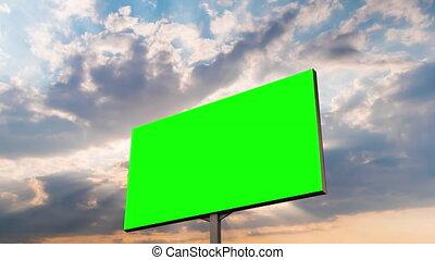 -, soleil, vide, par, vert, timelapse, briller, panneau affichage, nuages, rayons, coucher soleil