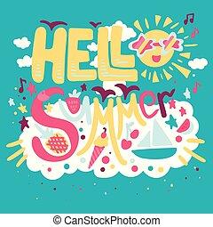 -, sommer, begriff, feiertag, hallo