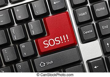 -, sos, (red, key), clavier, conceptuel