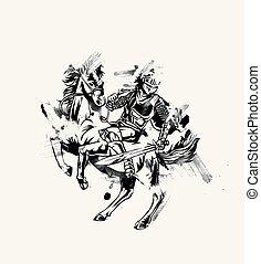 -, spartan, lanza, vector, ataque, caballero, caballo, ...