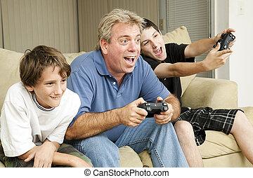 -, spelen, video, mannetje bonding