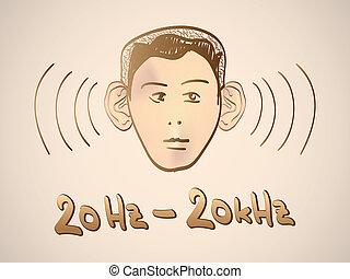 -, spettro, hertz, serie, frequenza, illustrazione