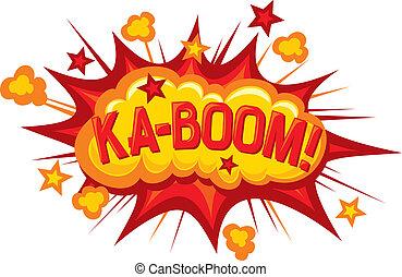 -, spotprent, ka-boom