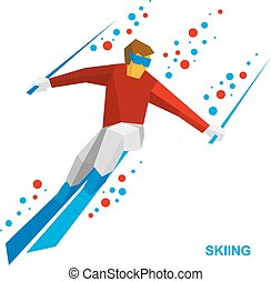 -, spotprent, rennende , skiing bergafwaarts, skier