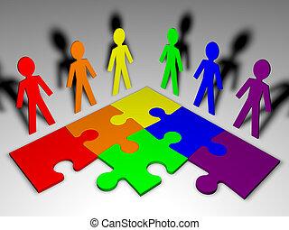 -, squadra, puzzle, affari