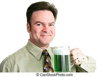 -, st. patricks, ビール, 緑, 日, 人