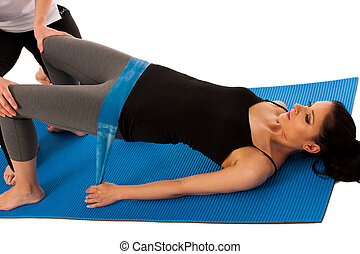 -, stabilité, strenght, bande, patient, physiothérapie, dos, isolé, améliorer, après, thérapeute, blessure, excercises, récupérer