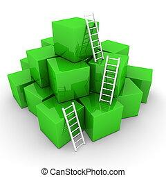 -, stapel, auf, leitern, hell, kästen, grün, klettern, ...