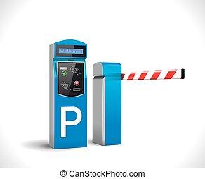 -, station, paiement, accès, stationnement
