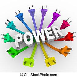 -, stekker, omringde, woord, macht