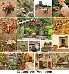 -, stijl, beelden, mooi, terras, tuscan, verzameling, classieke