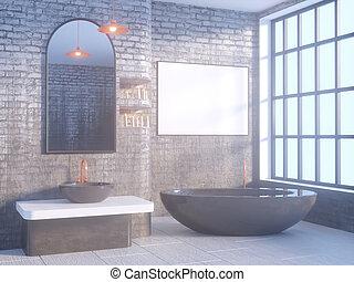 Espejos Redondos Lavabo.El Interior Del Bano Gris Con Un Piso De Hormigon Una