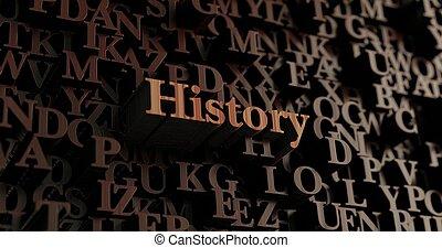 -, storia, reso, legno, 3d, letters/message
