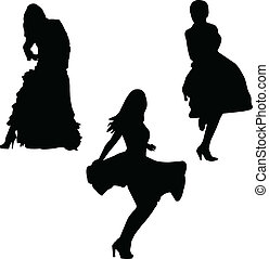 -, strój, wektor, dziewczyny, piękno