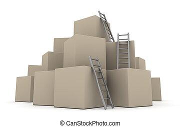 -, su, grigio, scale, scatole, lucido, lotto, arrampicarsi