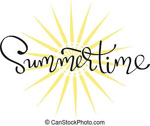 - Summertime - handwritten lettering word