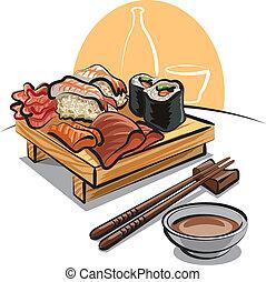 -, sushi, conjunto, cocina, japonés